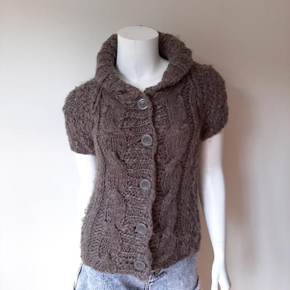 Vivienne Tam Sweaters - Vivienne Tam Gray Short Sleeve Cardigan Sweater